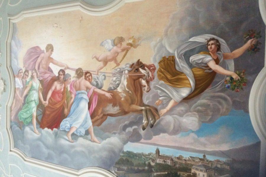 Deckengemälde Villa Raczynski / Marienberg Bregenz -  vor der Restaurierung